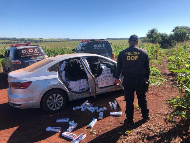 Veículo carregado com 2 mil pacotes de cigarros contrabandeados foi apreendido pelo DOF durante a Operação Hórus