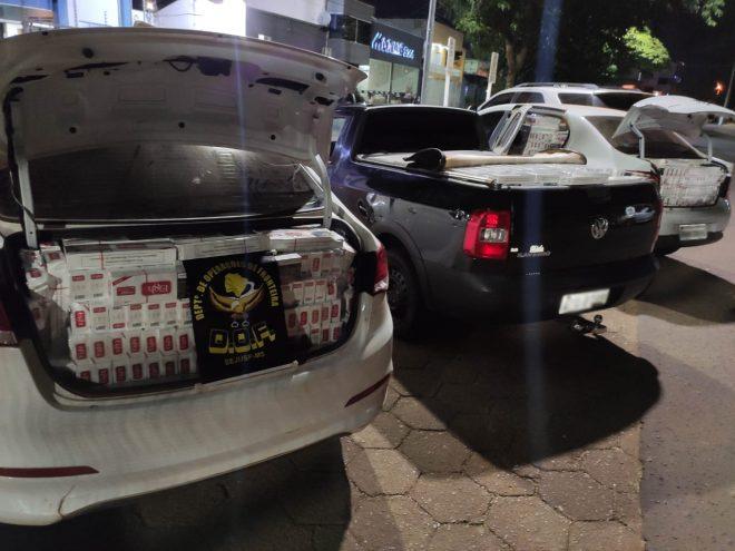 Três veículos carregados com cigarros do Paraguai foram apreendidos pelo DOF durante a Operação Hórus