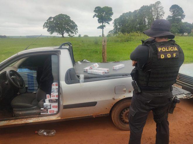 Veículos com cigarros e agrotóxicos contrabandeados do Paraguai foram apreendidos pelo DOF durante a Operação Hórus